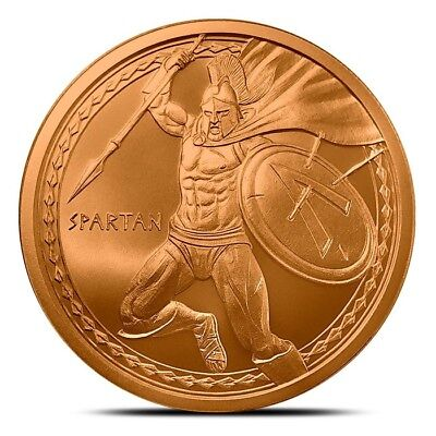 Warriors Series - Spartan 1 oz .999 Copper USA Made Limited BU Bullion Round