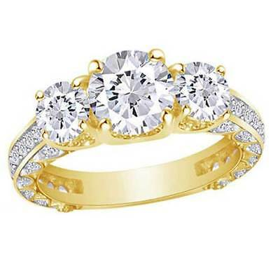 2.20 Ct Round Forever Brilliant Bridal Ring Solid 14K Yellow Gold Valentine Gift