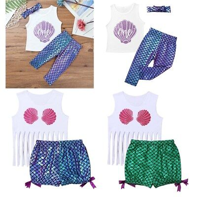 Newborn Infant Baby Girls Mermaid Romper Glittery Bodysuit Jumpsuit Outfits Set