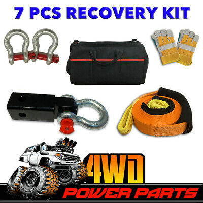 4WD Recovery Kit Snatch Strap Hitch Receiver Bow Shackles Gloves Bag Winch 7 PCS