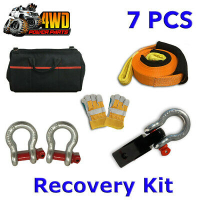 7 PCS Winch Recovery Kit Snatch Strap Hitch Receiver Bow Shackles Gloves Bag 4WD