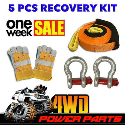 4WD Winch Recovery Kit Snatch Strap Bow Shackles Gloves Off Road Tow 4X4 5 PCS