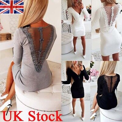 Women V Neck Long Sleeve Zipper Bodycon Ladies Evening Cocktail Party Mini Dress