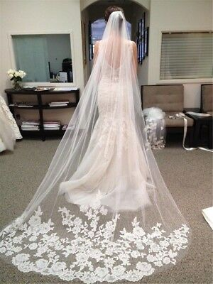 Ivory White Extra Long Cathedral Applique Edge Lace Bridal Wedding Veil Comb UK