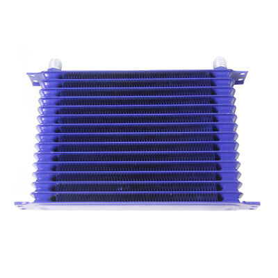 Universal 15Row 10AN Powder-Coated Aluminium Engine Transmission Oil Cooler Blue