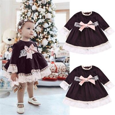 Infant Baby Girls Fashion Lace Patchwork Bowknot Princess Dresses Party Dress
