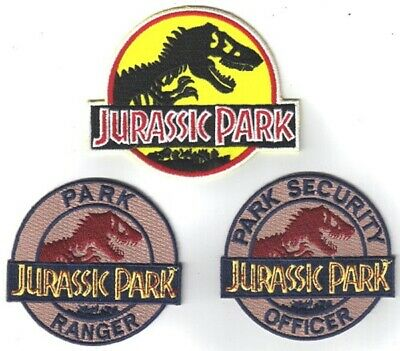 Jurassic Park Movie Logos Embroidered Patch Set of 3, NEW UNUSED