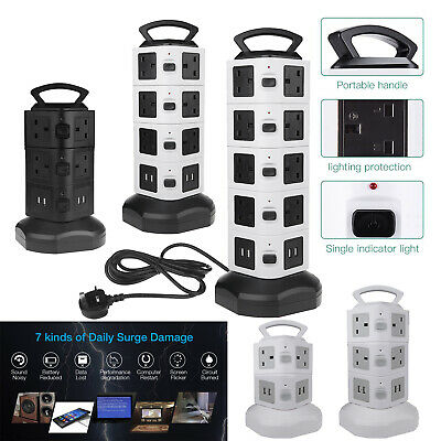 3/4/5 Layers USB Port Tower Power Strip Surge Protector Socket Extension Lead 3M
