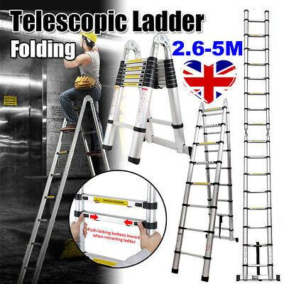 5m Heavy Duty Multi Purpose Aluminium Telescopic Ladder Folding Extendable Steps