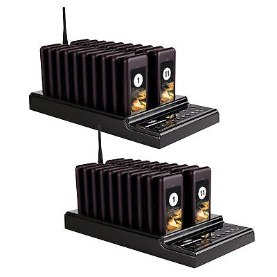 2Pcs TIVDIO T112 Wireless Guest Paging Queuing System W/ Transmitter&20*Pager ES