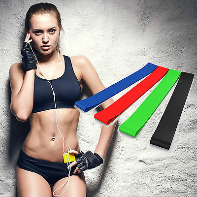 Resistance Bands 4 Loops Stretching Exercise Home Gym Fitness For Pilates Yoga