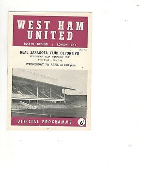 West Ham United v Real Zaragoza 1964 - 1965  ECWC semi-final 1st leg
