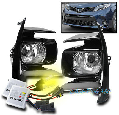 98-03 TOYOTA SIENNA BUMPER DRIVING FOG LIGHTS LAMPS CHROME W//8K HID KIT+SWITCH