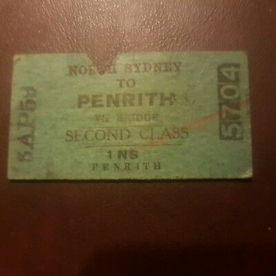 Vintage Australian NSW Train ticket. North Sydney to Penrith 1959 Second class