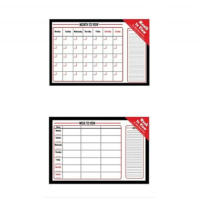 Large Week / Month to View Wall Planner Whiteboard Cork Dry Wipe Timetable Board