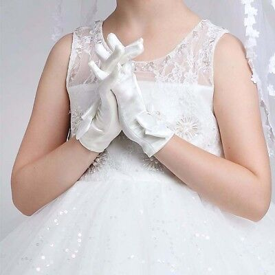 LX_ Kids Girls Fashion Solid Faux Pearl Bowknot Dress Gloves Wedding Mittens N