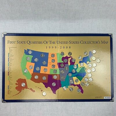 First State Quarters of the United States Collector's Map 1999-2008 - Complete