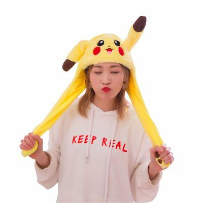 Pokemon Pikachu Hat Ear Moving Cosplay Costumes Airbag Funny Soft Plush Cap Gift