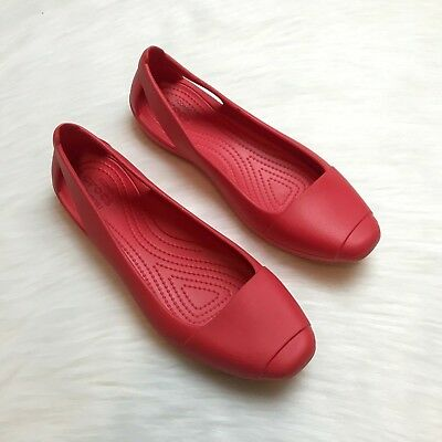 63dbef7b3a2 CROCS SIENNA FLAT Flame Red Womens 9M A95 -  14.99
