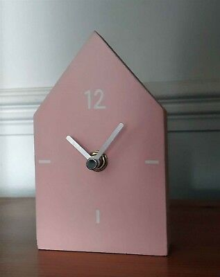 Scandi Small Wooden Pink House Home Mantle Shelf Clock New