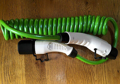 32A EV Charging Green Coiled Cable Type 2 to Type 1 for Leaf, Outlander EVs