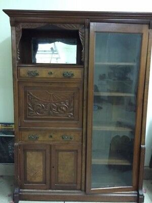 Antique Secretary Desk with Bookcase - Walnut - 19th century