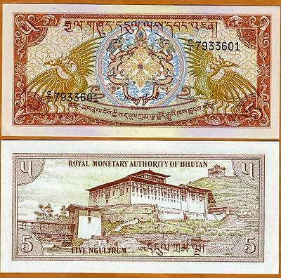 Bhutan 1985 5 Ngultrum Perfect Uncirculated Banknotes