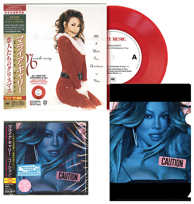 "CAUTION JAPAN CD wBONUST+CLEARFILE+STICKER+CHRISTMAS 7"" RED VINYL! MARIAH CAREY"