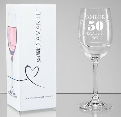 Personalised Engraved Crystal Wine Glass Gift Birthday Prosecco Present 133521