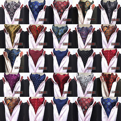 5e011b7ca29f Men Silk Cravat Scarves Paisley Polka Dots Ascot Wedding Party Self-tied  Ties