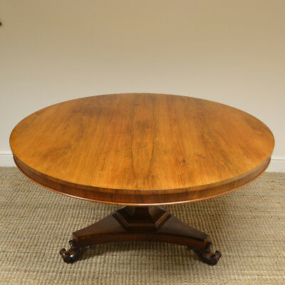 Large Circular Rosewood Antique Dining Table