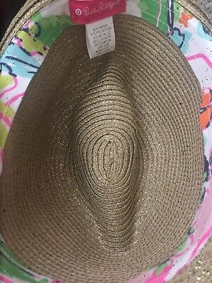 37ec3f7842 NWOT LILLY PULITZER for Target Straw Fedora hat Nosey Posey Liner ...