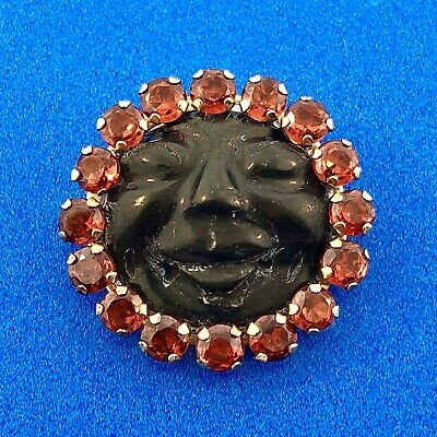 Art Deco Unusual 10K Yellow Gold Citrine Halo Carved Black Resin Cameo Pendant