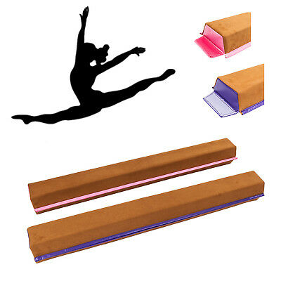 8ft Sectional Folding Gymnastics Balance Beam Skill Performance Brown Fabric+PVC