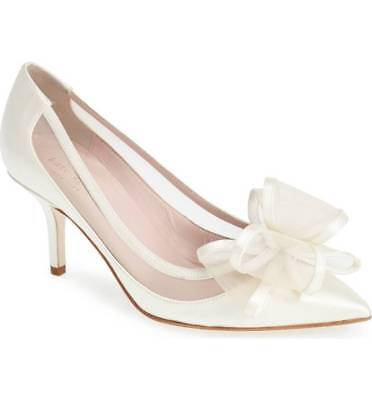 d845fae9c3 New!! Kate Spade Jackie Ivory Satin Bow Pointy Toe Pump Sz 5 Msrp$398