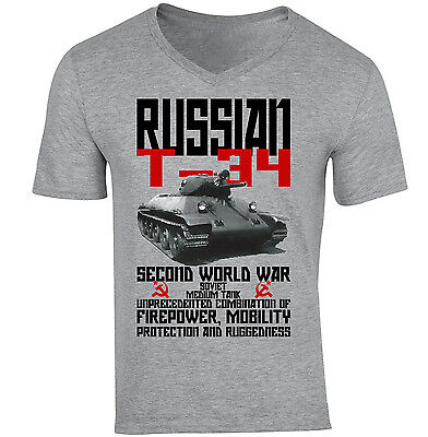 Russian T-34 Tank Wwii - New Cotton Grey V-Neck Tshirt