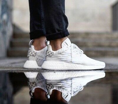 6cb9b660aed7 New Adidas NMD R2 BOOST PRIMEKNIT Granite white womens ultra trainers UK 6.5
