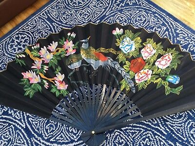 Beautiful Very Large Chinese/Japanese Style Hand Painted Decorative Wall Fan