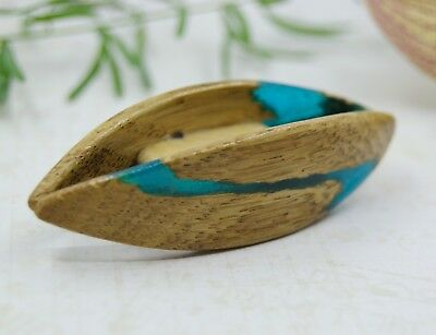 Blue Epoxy Resin Wood Tatting Shuttle Handmade of OAK supplies