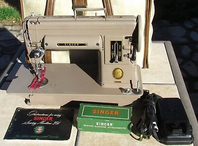 Singer 301A Vintage (1953) Sewing Machine With Attachments And Carrying Case