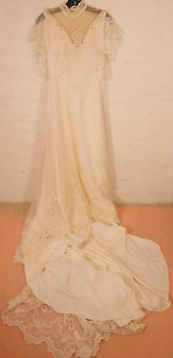 Antique Lace Wedding Dress A-Line Boho Gown Cream Trumpet Silk train ILGWU Small