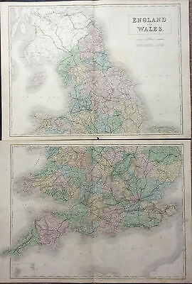 Large Antique Map of England & Wales, engraved by S. Hall c1844 Pub A & C Black
