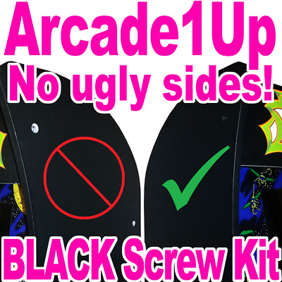 Arcade1Up GALAGA - Fix Ugly Holes - BLACK Replacement Screw Kit - Upgrade Screws