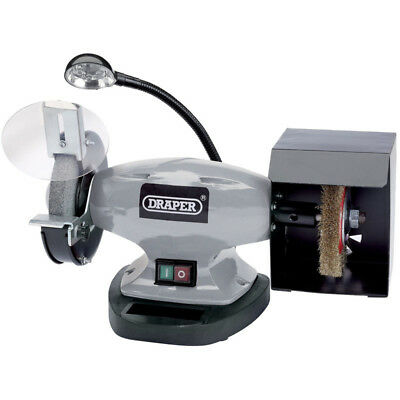 Draper 150mm Bench Grinder with Wire Wheel and LED Worklight (370W) 83421