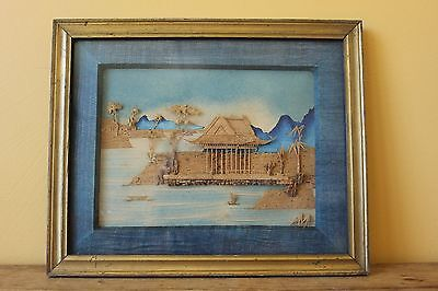 Art Deco  Oriental Cork picture, shadow box.