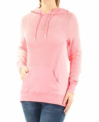 4117aa79 TOMMY HILFIGER Womens New 1250 Pink Hooded V Neck Long Sleeve Sweater M B+B