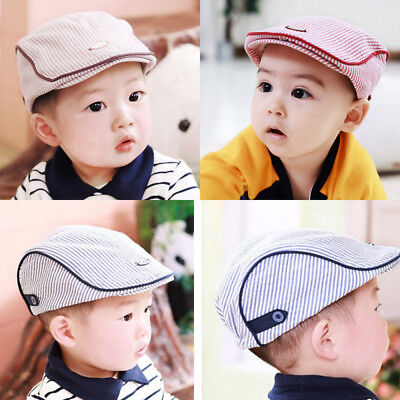 28f83ca573e Kids Baby Infant Toddler Boy Girl Beret Cap Peaked Cotton Stripe Sun Hat