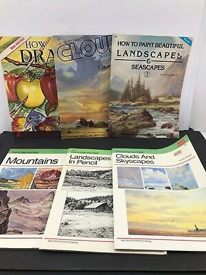 6 Lot How to Draw Book Published by Walter T. Foster Clouds Landscapes Mountains