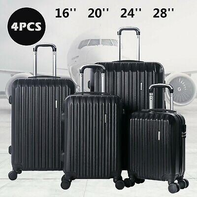 4 Luggage Set ABS Spinner Travel Suitcase Waterproof Carry On Anti-Theft Lock