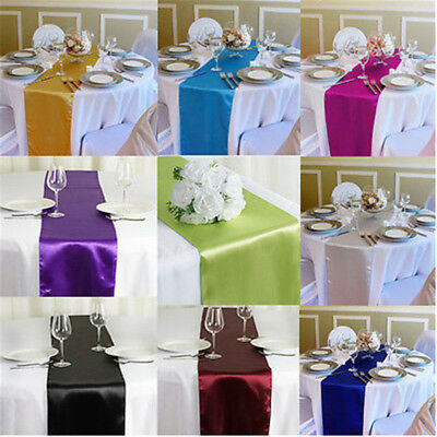 """12"""" x 108"""" Satin Table Runner Colorful Wedding Home Party Reception Decoration"""